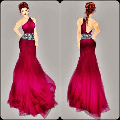 Goddess Jewels Gown-Fuschia