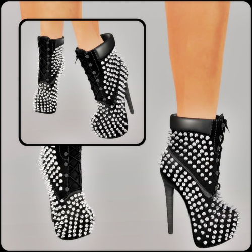 Mesh_Ladies Studded High Heel Boots Black