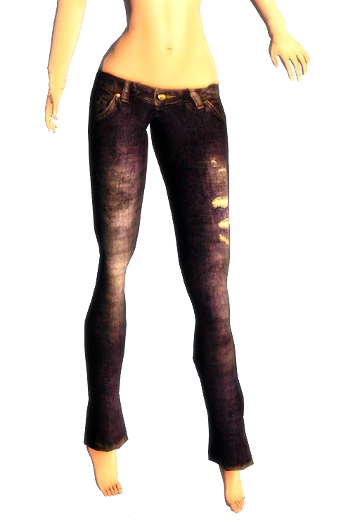 Lo's Grunge Ripped Blue Jeans -Appliers
