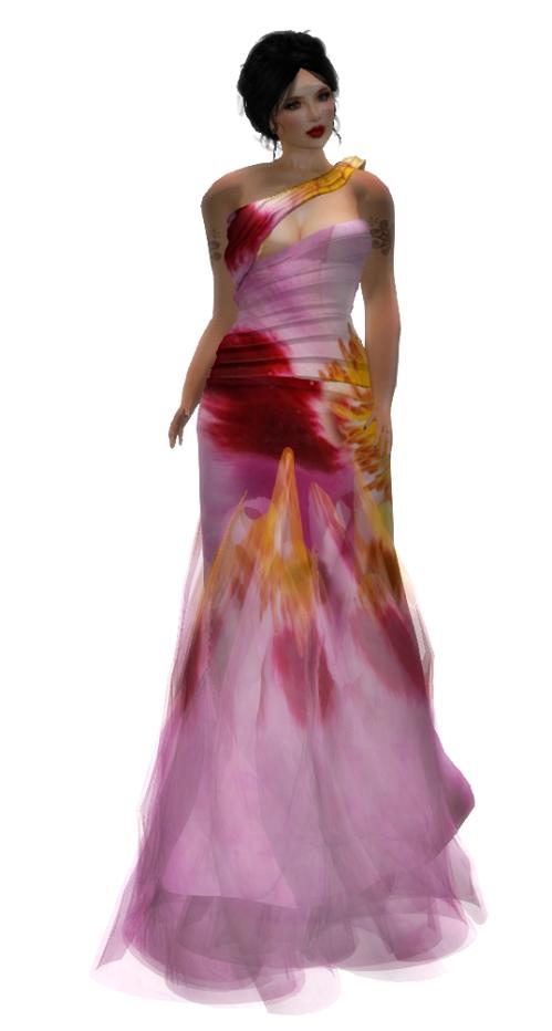 Paris METRO Couture- Flower Wrap - Mesh Gown (c)