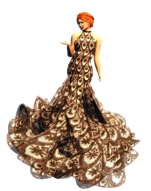 Paris METRO Couture- Hemisphere Mesh Halter Dress