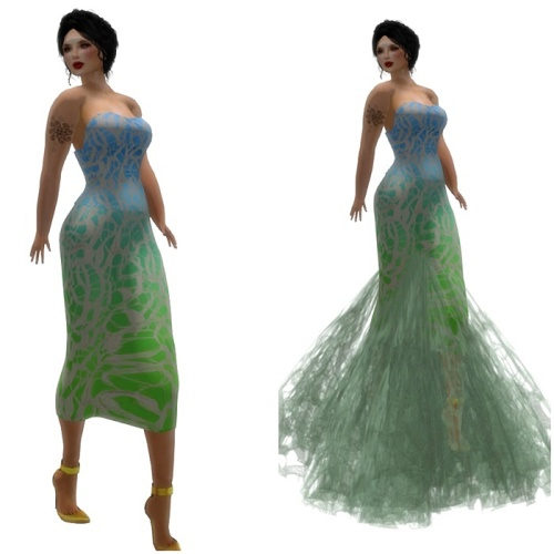 Paris METRO Couture- Root Lace Mesh Gown - Blue Sea (C)