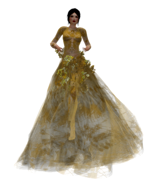 Paris METRO Couture- The Meadow Gown in Gold w- Appliers (c)