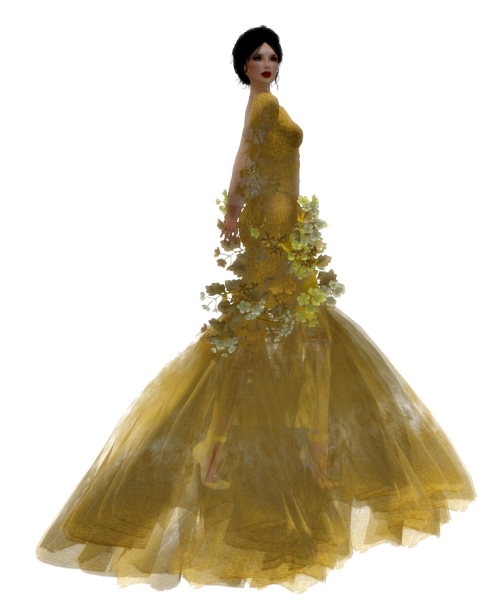Paris METRO Couture- The Meadow Gown in Gold w- Appliers (c)1
