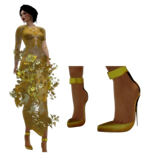 Paris METRO Couture- The Meadow Gown in Gold w- Appliers (c)+Heels