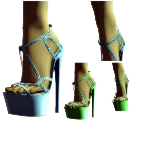 Paris METRO Couture-Vine Mesh Heels-Serenity (c)+Green
