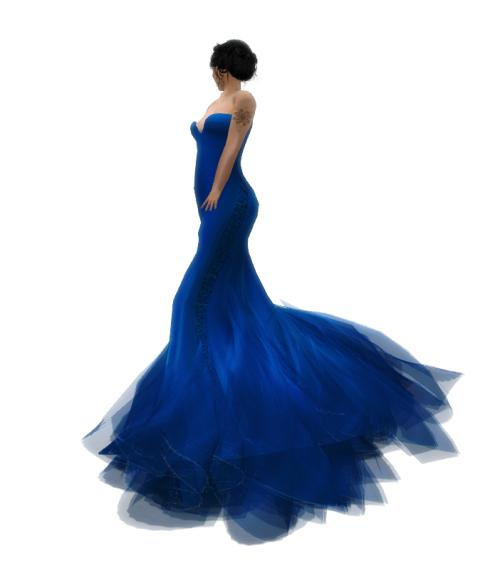 Paris METRO Couture- Wander-Mesh Gown - Blue Sea (c)