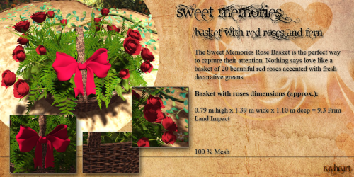 _~rh~_ Sweet memories ~ basket with red roses and fern ~ pic