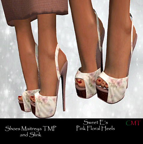 Sweet E's -sl frees&offers -Pink Floral Heels