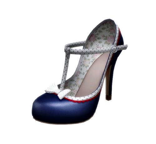The Secret Store - Becky T-Strap Heels - Blue Polka GG April 2016