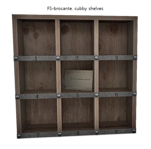 FS-brocante. cubby shelves