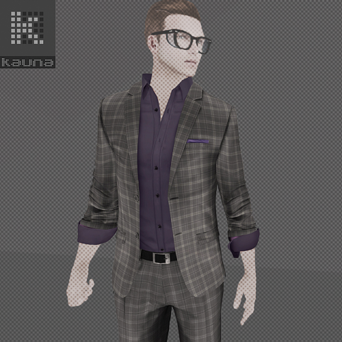 FS-Kauna - 2BN Casual Suit_ Check Grey (image)