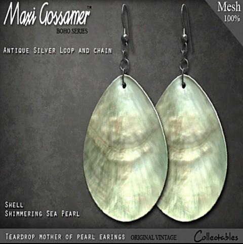 FS-MG - Earrings - Shell - Teardrop - Sea Pearl