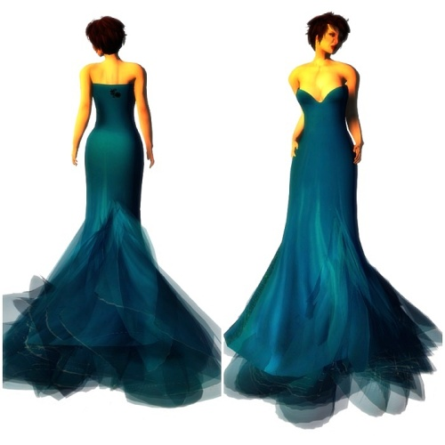 Paris METRO Couture- Wander-Mesh Gown - Blue Sea (c)