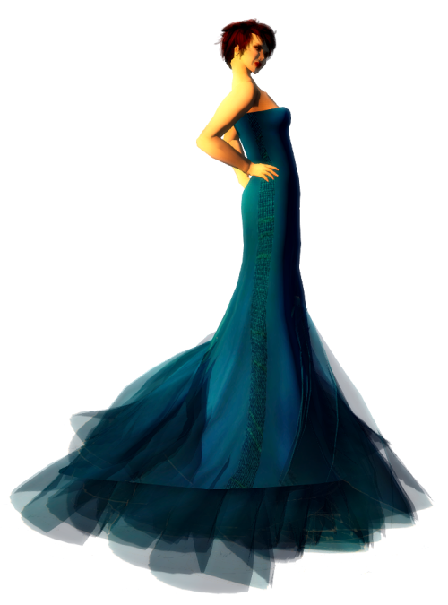 Paris METRO Couture- Wander-Mesh Gown - Blue Sea (c)1