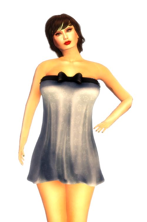 SLC - Mesh Super Short Bow Dress blue Subscriber GIFT