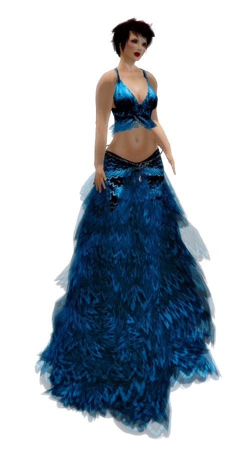Paris METRO Couture - Wolfr Flamingo Gown - Blue w-Appliers (c)