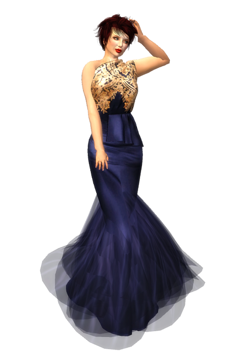 290 Womanity Janey Off Shoulder Gown with Frills - Blue - FREEBIE