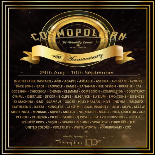 Cosmopolitan 4th Ann. {Round 1_5} 29th Aug - 10th September
